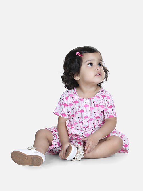Natyam Infant Cotton White Jhabla With Bloomer