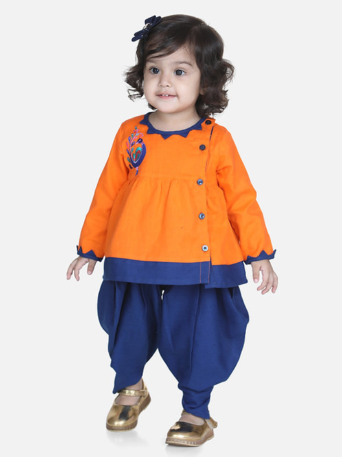 Bow N Bee Mor Embroidery Top Orange Dhoti For Girls
