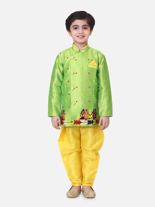 Bow n Bee Boys Hand Embroidered Mor Sherwani in Green
