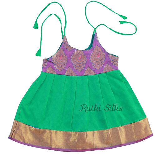 Pure Silk Shoulder Knot Baby Frocks in Green