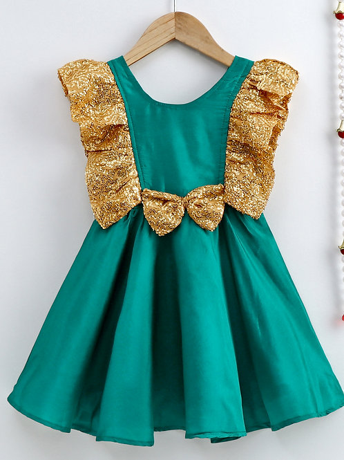 Bow N Bee Girls Green Sequin Frill Silk Party Frock
