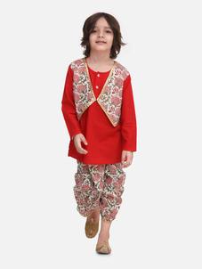 Bow n Bee Boys Block Print Jaipuri Cotton Dhoti Kurta in Red