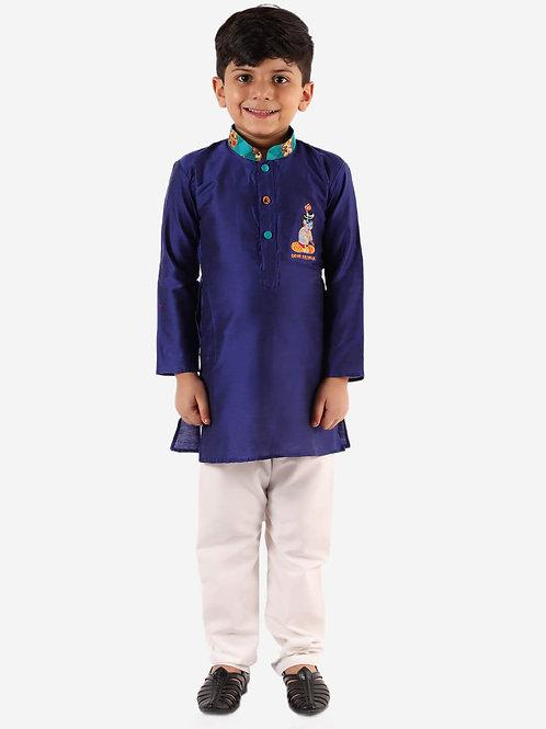 Boys Radhe Krishna kurta pyjama in Blue