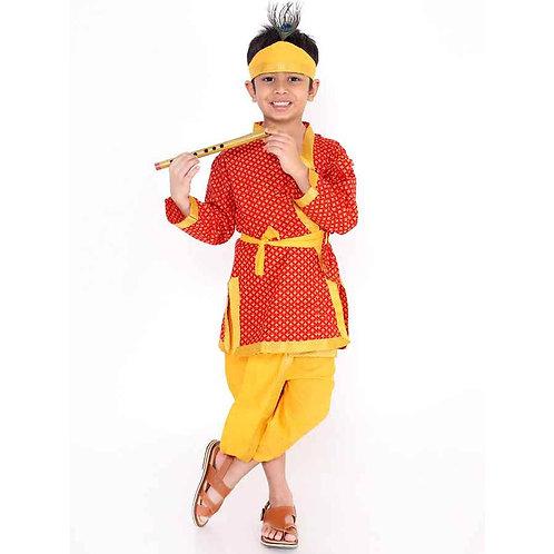 Kid1 Boys Krishna Kurta Dhoti dress in Red