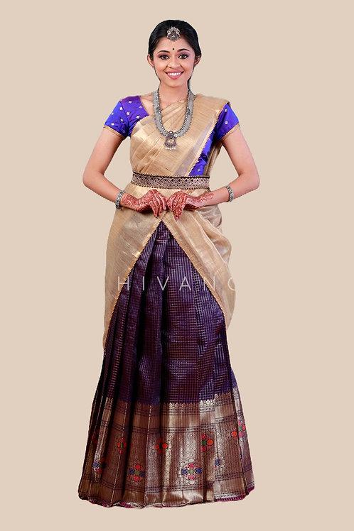 Shivangi Floral Spin Pattu Langa Half Saree