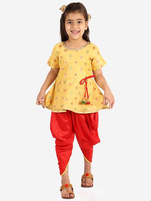 KID1 Girls Nitara Festive peplum with dhoti in Yellow