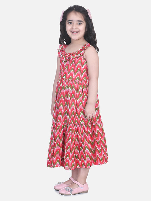 Bow N Bee Girls  Chevron Dot Tier Halter Neck Gown in Pink