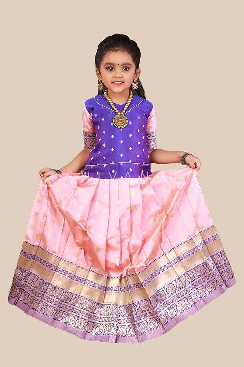 Shivangi Girls Lotus Pond Pattu Pavadai | Lehenga