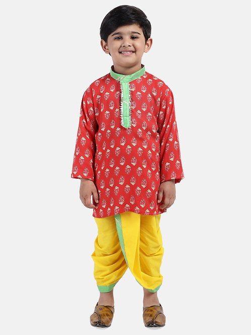 Readymade Bow n Bee Boys Red Jaipuri Print Cambric Cotton Dhoti Kurta