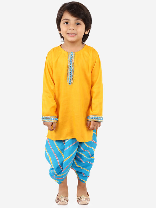 KID1 Round neck kurta with lehariya dhoti in Yellow