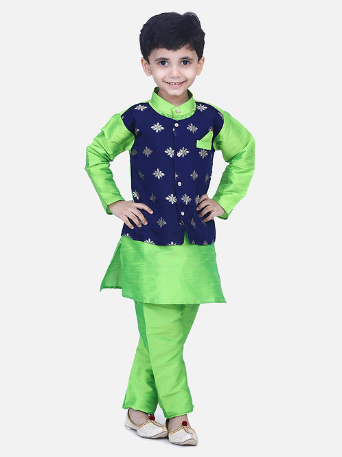Kidswear Bow n Bee Chiffon Jacket Full Sleeve Kurta Pajama in Green
