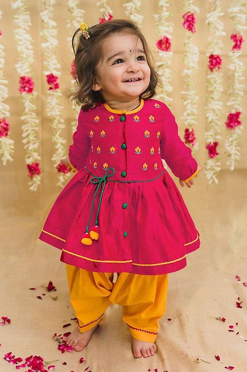 Tiber Taber Baby Girl Pink Silk Buta Angrakha Set