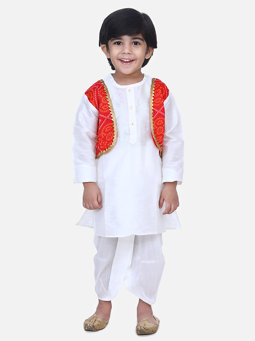 kidswear Boys Bow n Bee Attached White Jacket Bandhani Dhoti Kurta