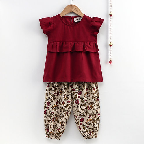 Bow N Bee Girls Ruffle Cotton Top With Harem Pant in Maroon