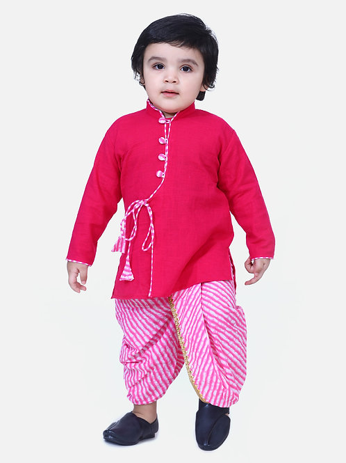 Kidswear Boys Dhoti Front open Pink Kurta