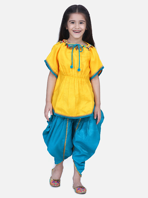 Kidswear Girls Bow n Bee Indo western Festive Kaftan Dhoti in Yellow