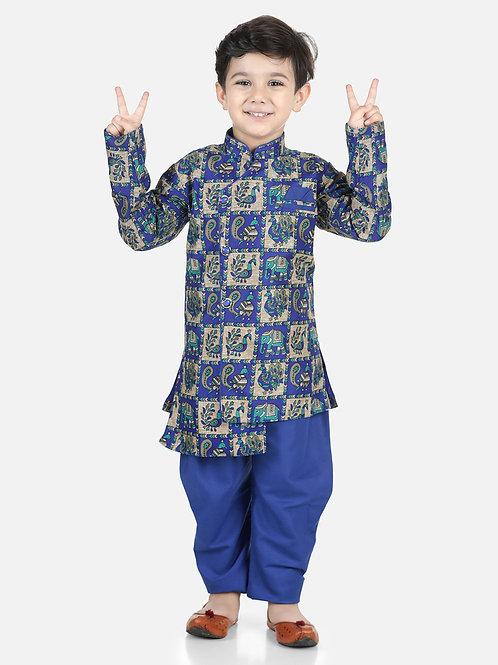 Bow N Bee Mor Print Full Sleeve Sherwani Dhoti in Blue