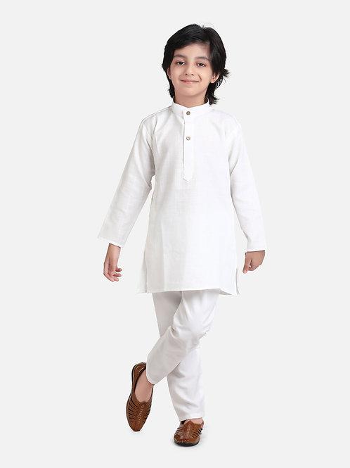 Kidswear Bow n Bee Boys Stand Collar Cotton Kurta pajama in White