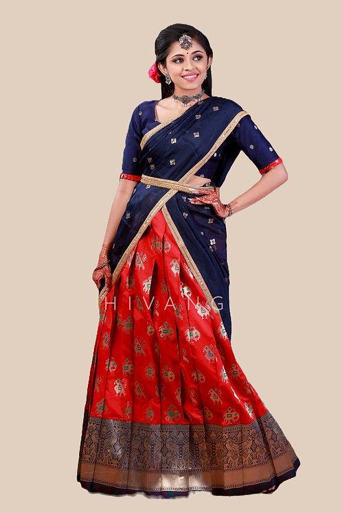 Shivangi Girls Peacock Patola Half Saree   Langa Voni !!! – AN09RD