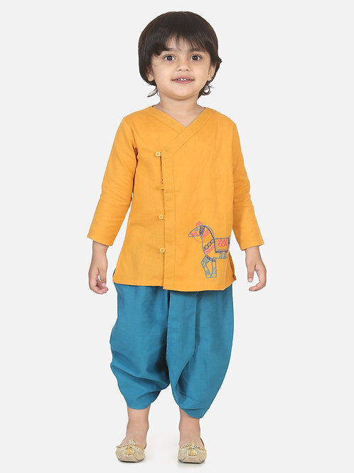 Bow n Bee Boys Horse embroidery front open dhoti kurta in Yellow