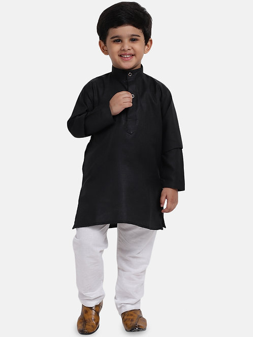Kidswear Bow n Bee Boys Stand Collar Cotton Kurta pajama in Black