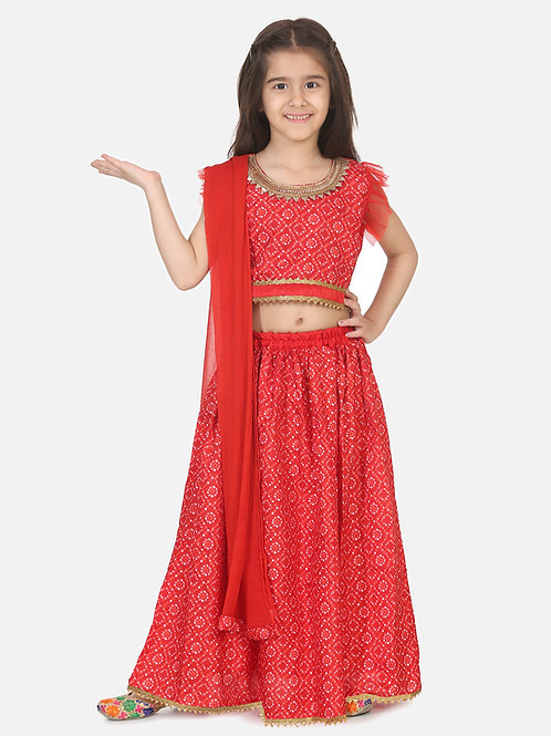 Bow N Bee Girls Halter Neck Floral Lehenga in Red