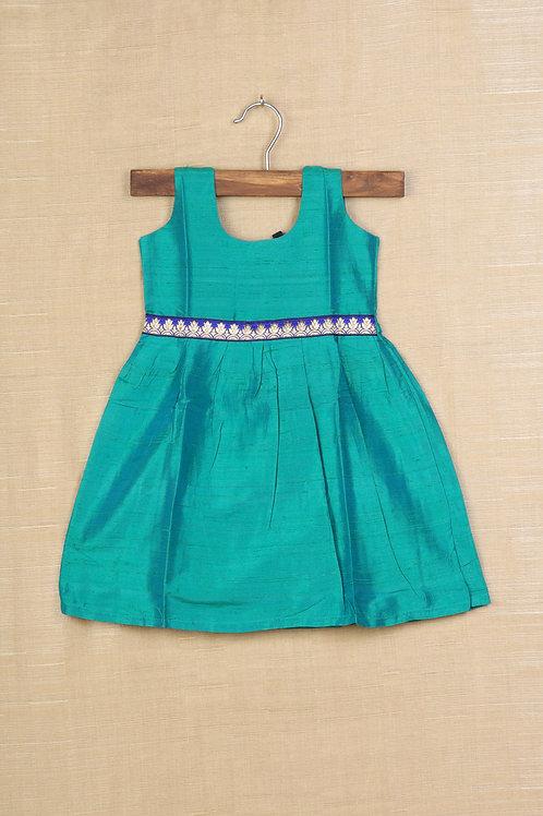 Shivangi Green Baby Banaras Frocks !!!
