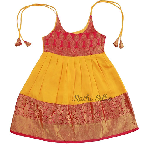 Pure Silk Shoulder Knot Baby Frocks in Yellow for 3 years