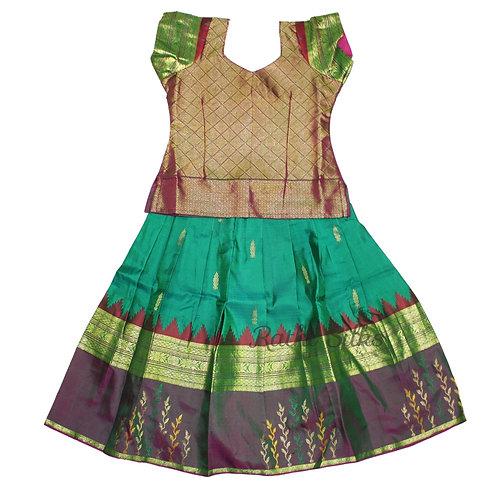 Pure Silk pattu pavadai | Lehenga for girls in Green