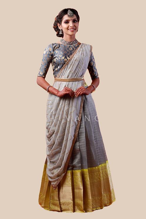 Shivangi Girls Floral Mango Half Saree | Langa Voni !!! – AN14GY