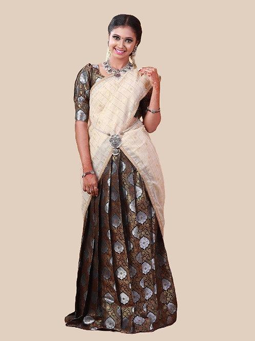 Shivangi Brocade Silver Half Saree for Teenager in Dark Green
