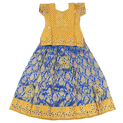 EMB Pure Silk pattu pavadai | Lehenga for girls in Blue