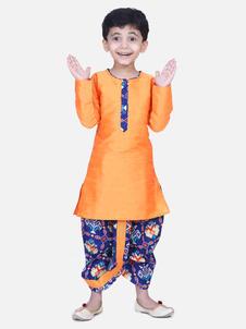 Bow n Bee Blue Boys Patan Patola Full Sleeve Dhoti Kurta