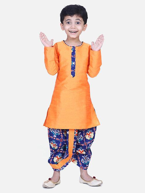 Kidswear Boys Patan Patola Ethnic Blue Colored Kurta
