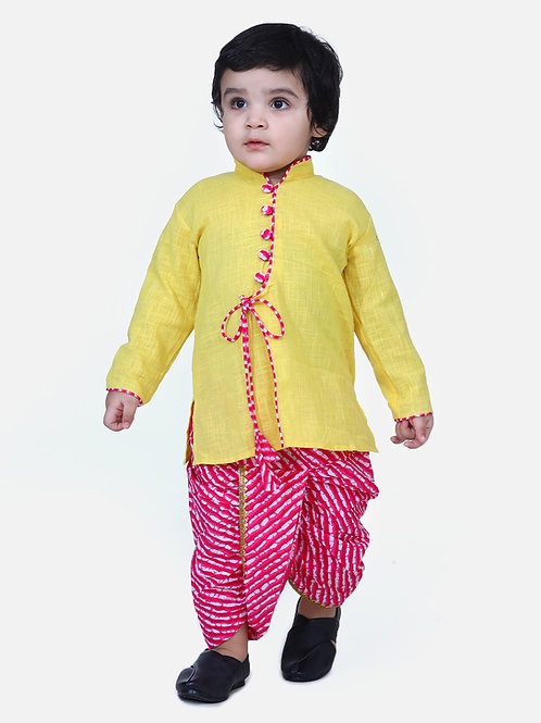 Kidswear Boys Dhoti Front open Yellow Kurta