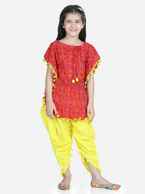 Bow N Bee Cotton Kaftan Dhoti Set for Girls in Red