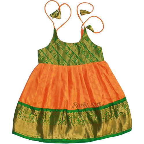 Pure Mix Shoulder Knot Baby Frocks in Bright Yellow