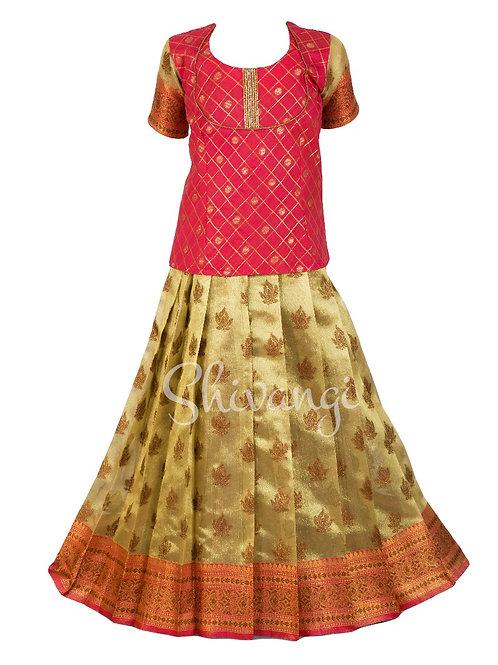Shivangi Girls Tissue Lilly Pavadai Set | Lehenga