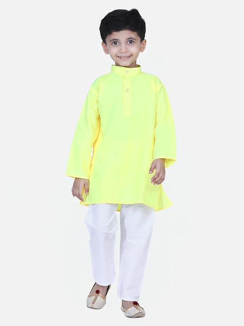 Kidswear Children Ethnic Yellow Green Colored Kurta Pajama