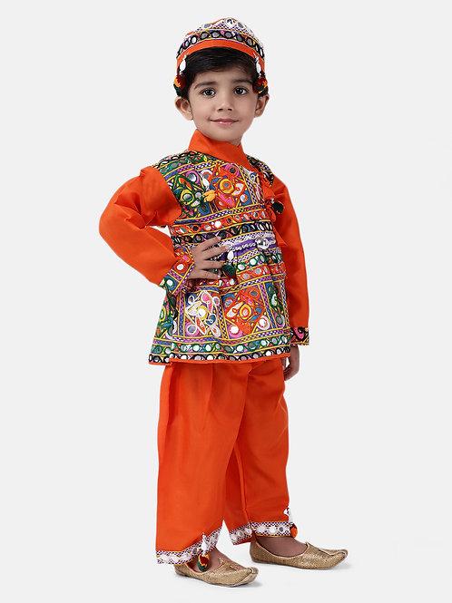Bow N Bee Full Sleeve Bandhani Kedia Dhoti in Orange