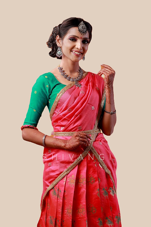 Shivangi Girls Peacock Patola Half Saree | Langa Voni !!! – AN09PE