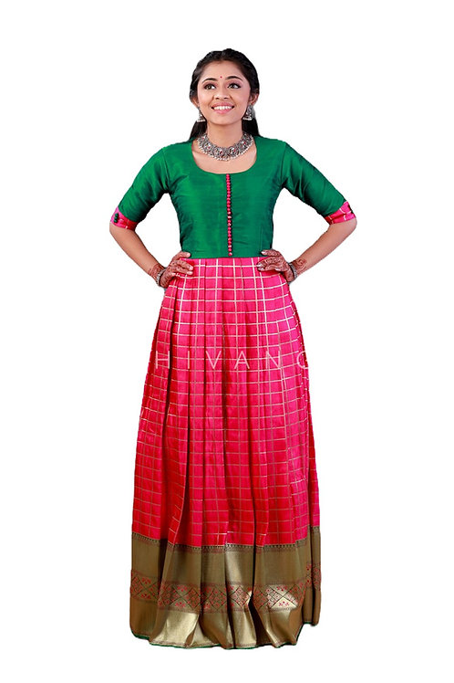 Shivangi Satin Checks Long Gown in Pink
