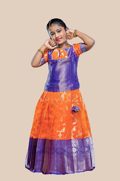 Shivangi Peace Lilly Pattupavadai   Lehenga in Orange