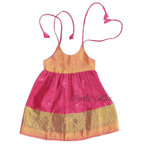 Pure Mix Shoulder Knot Baby Frocks in Bright Rani Pink