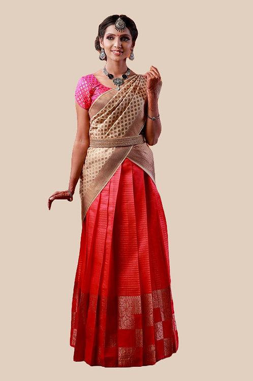 Shivangi Girls Golden Tiles Half Saree | Langa Voni !!! – AN07PK