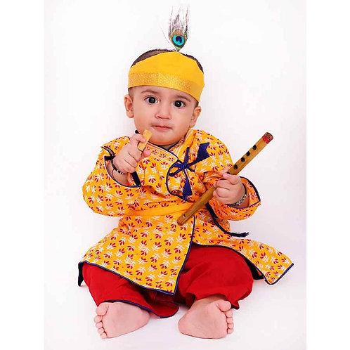 Kid1 Boys Krishna Kurta Dhoti dress in Yellow