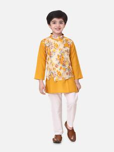 Bow n Bee Boys Attached Jacket Kurta Pajama in Yellow