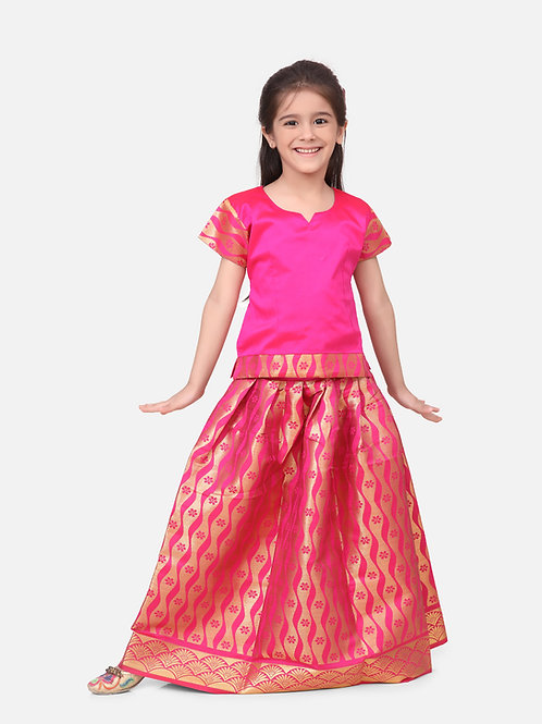 Kidswear Girls Bow n Bee Purple Indian Pavada Pattu Lehenga