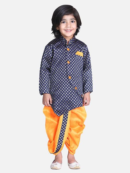 Kidswear Bow n Bee Boys Blue Jacquard Front Open Sherwani