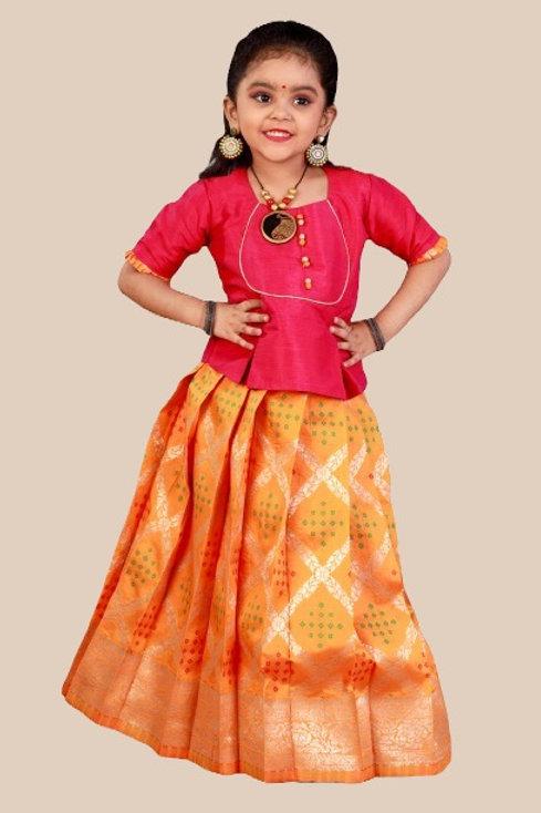 Shivangi Girls Bandhini Jacquard Pavadai Set !!! – AN39OR
